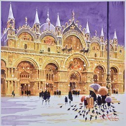 Snow at St Mark's - Venice by Peter J Rodgers -  sized 20x20 inches. Available from Whitewall Galleries